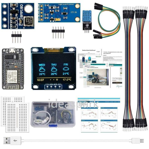 Arduino starter kit - Værstasjon - komplett sett / Weather Station with Tutorial - NodeMCU - ESP8266 KitVar01
