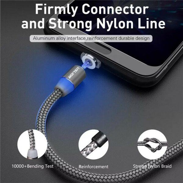 USB mikro kabel med magnetplugg og indikator lampe (Enkel tilkobling/lading!) USBmagnet1