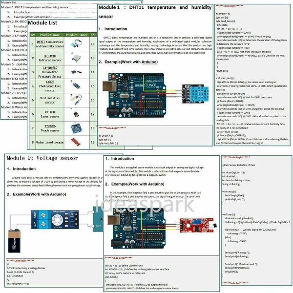 Arduino Kit med 22 sensormoduler - Sensor Modules Kit for Arduino, NodeMCU, Raspberry Pi osv (ideaSpark) kit22sensor03