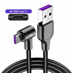 USB til USB C kabel med vinkel 1M
