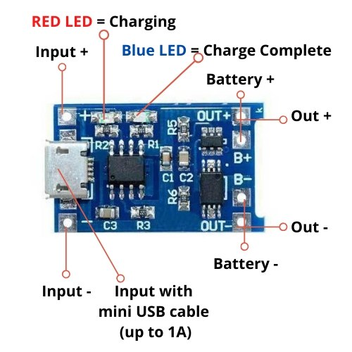 1A USB Lithium TP4056 batterilader battery charging module with protection TP4056 Charging Module Pinout